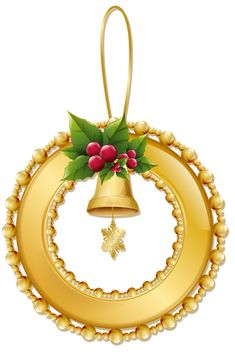 Christmas Gold Wreath with Bell PNG Ornament