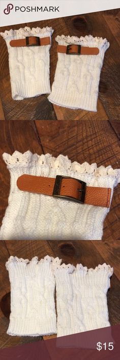 """NWT Cable Knit Boot Cuffs w/ Buckles NWT soft and cozy knit Boot Cuffs with eyelet lace ruffles at the top and faux leather straps with buckles on the sides. 7"""" long. Accessories Hosiery & Socks"""