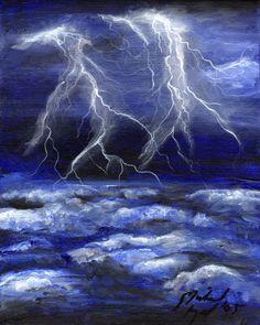 Watercolor thunderstorm tattoo idea
