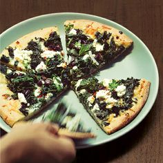 Don't forget to plan a light lunch if you serve Thanksgiving dinner in the evening. This Pizza with Wilted Greens, Goat Cheese, & Hot Pepper is quick and tasty.