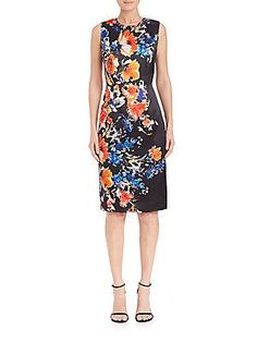 Carmen Marc Valvo Floral Sheath Dress - Black - Size 12