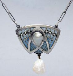 Collier Art Nouveau - Argent, Perles Baroques et Email - Otto Prutscher - Vers 1902