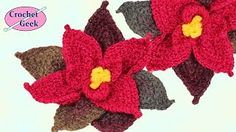 How to make a CROCHET POINSETTIA FLOWER Crochet Geek - YouTube