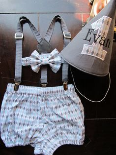 Two L Creations -- Smash Cake Outfit, Birthday Boy Outfit, Bowtie, Suspenders, Diaper Cover and Party Hat