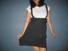DIY Makeover: Upcycled Jersey Knit T-Shirt --> High-Waisted Jumper Skirt w/ Suspenders