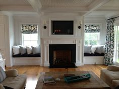 Astounding Useful Ideas: Full Wall Fireplace Remodel old fireplace farmhouse.Fireplace Tile Building fireplace makeover tv above.Faux Fireplace With Tv. Window Seat Kitchen, Home Living Room, Home, Fireplace Windows, Trendy Living Rooms, Family Room, Fireplace Built Ins, Living Room With Fireplace, Fireplace Between Windows