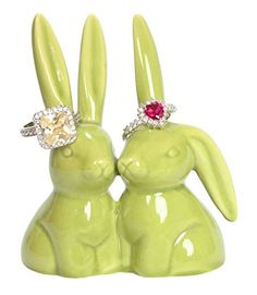 "Bunny Rabbit Ring Holder, Green Ceramic Engagement and Wedding Ring Holder, Measures 2.75""Wx3.25""Hx1.75""D Beth Marie http://www.amazon.com/dp/B014W1CCL2/ref=cm_sw_r_pi_dp_gF-.wb123QVWW 7 each"