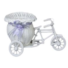 Flower Plastic White Tricycle Bike Design Flower Basket Container For Flower Plant Home Weddding Decoration  #Affiliate