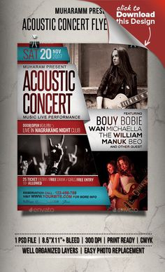 2017 flyer, acoustic, acoustic night, band, club, concert, dance, event, event flyer, festival, flyer, folk, gig, heart, jazz, live music, love, music, night, party, poster, poster template, print template, red, typography Acoustic Concert flyer templates or poster templates designed to promote any kind of music event, concert, festival, party or weekly event in a music club and other kind of special evenings.  Features      1 psd File     Print Ready     8.5×11+ Bleed     300 dpi     CMYK…