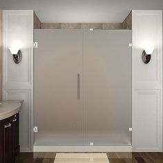 "Aston Avalux GS 37"" x 34"" x 72"" Completely Frameless Hinged Shower Enclosure with Shelves, Frosted Glass 