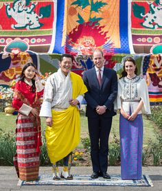 (R-L) Catherine, Duchess of Cambridge and Prince William, Duke of Cambridge pose with King Jigme Khesar Namgyel Wangchuck and Queen Jetsun Pema at a ceremonial welcome and audience at TashichhoDong on April 14, 2016 in Thimphu, Bhutan.