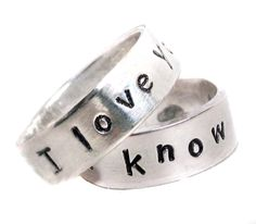 Custom Made I Love You. I Know - Pair Of Hand Stamped Sterling Silver Rings