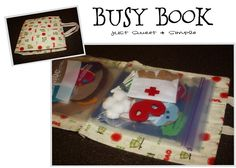 Here is a new idea for a Busy Book! PATTERNS/TUTORIALS available on this link for each activity AND the BAG!.............I've made a book like this, but I use it to hold embroidery thread. Great idea to fill it with activities.