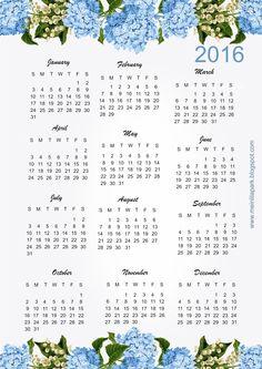 FREE printable 2016 hydrangea calendar