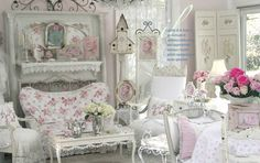Charming Shabby Chic Living Room Designs : Rooms : Home & Garden . Shabby Chic Living Room With RMS_theycallmemartha-floral- . Shabby French Chic, Romantic Shabby Chic, Shabby Chic Mode, Estilo Shabby Chic, Shabby Chic Interiors, Shabby Vintage, Shabby Chic Furniture, Furniture Sets, Bedroom Furniture