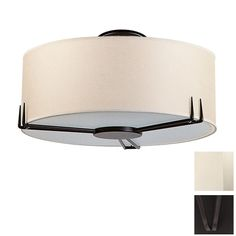 Shop DVI 16-in W Mocha Fabric Semi-Flush Mount Ceiling Light at Lowes.com