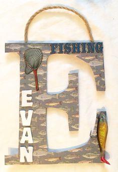 Fishing Nursery Letters Door Sign Baby Boys by UdesignNursery