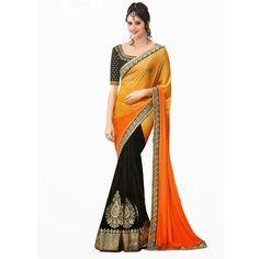 Designer Party Wear Embroidered Georgette Bollywood Replica Orange Saree - 15233 ( ML - 882 )