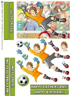 Football Dude Orange Goalkeeper  on Craftsuprint designed by Gordon Fraser - Football Orange Dude Goalie saves the day and the match! Easy to make decoupage with sentiment and blank tiles plus a football badge.  - Now available for download!