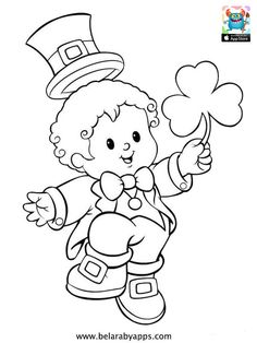 Happy children's day coloring pages - free printable ⋆ BelarabyApps Coloring Sheets For Kids, Printable Coloring Pages, Coloring Pages For Kids, Coloring Books, Kids Coloring, Colouring Sheets, St Patricks Day Crafts For Kids, St Patrick's Day Crafts, Leprechaun