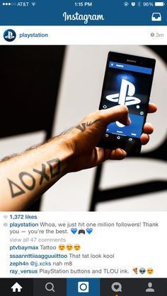Celebrating 1 million #Instagram followers with a cameo of my #PlayStation #tattoo.