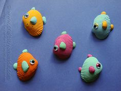 Little kids can paint big and little seashells to make tropical fish art