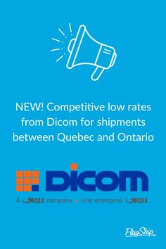 FlagShip is excited to announce Dicom to our line-up of top carriers! Dicom offers incredibly low rates on courier services between Quebec and Ontario.  Log in today to check out Dicom's fantastic pricing along with our other leading couriers.  #dicom #courierservice Online Shipping, Courier Service, Quebec, Ontario, Canada, Business, Check, Top, Quebec City