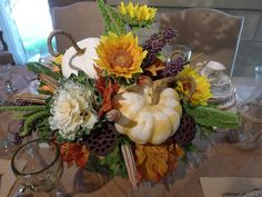 decorative cabbage , gourds and flowers