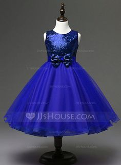 [US$ 32.99] Ball Gown/Empire Knee-length Flower Girl Dress - Sequined/Cotton Blends Sleeveless Jewel With Bow(s)