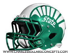 Charles Sollars Concepts @charles elliott Sollars @charles elliott Sollars http://www.charlessollarsconcepts.com/michigan-state-spartans-helmet-concepts/ #MSU #Nike #spartans #michiganstate