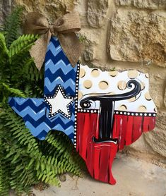 Texas Personalized Door Hanger by LaurieColeDesigns on Etsy