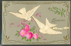 GY013-COLOMBE-DOVE-ROSES-AJOUTIS-SOIE-SILK-FANTAISIE-Gaufree-RELIEF