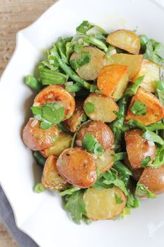 Hip Foodie Mom | Roasted Potato Salad with Parsley and Arugula