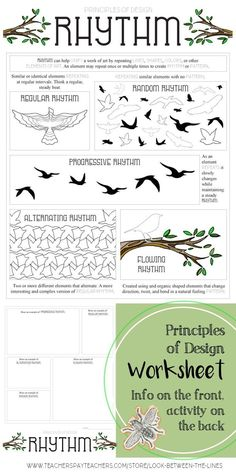 """"" Rhythm, Principles of Design Mini Lesson for Middle and High School Visual Art """" Every year I use my principles of design worksheet in my Introduction to art course. This printable worksheet covers the principle of design, rhythm. Middle School Art, Art School, High School, Elements And Principles, Elements Of Art, Design Elements, Principals Of Design, Rhythm Art, Rhythm In Design"