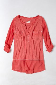 Stitched Jade Tunic #anthropologie Size Small, Red