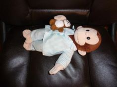 APPLAUSE CURIOUS GEORGE IN PJ'S.. WITH BEAR BEAN BAG PLUSH DOLL FREE SHIPPING