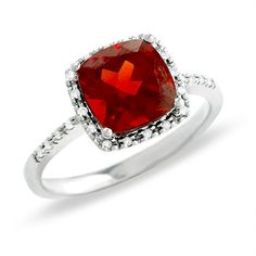 Cushion Cut Garnet Ring in 14K White Gold - all MINE! looks sooo much better in person!! I love it <3
