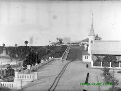 Santa Isabel a principios del S. XX: Plaza de España, Iglesia de la Misión, Calle Barrera hacia Punta Fernanda y a la izquierda la bajada al puerto viejo