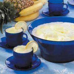 Snow Punch (•1 cup lemon juice  •5 medium ripe bananas  •1 cup granulated Sugar  •2 cups half-and-half cream  •1 liter lemon-lime soda, chilled  •1 pint lemon or pineapple sherbet  •1/4 cup flaked coconut, optional)
