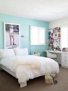 teenage girl bedroom paints with soft blue wall