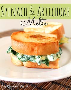 Spinach and Artichoke Sandwich Melts from sixsistersstuff.com.  All the goodness of spinach artichoke dip...in a sandwich! #recipes #sandwich