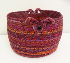 Large Fabric Coiled Basket in Berry/Tangerine by DMcGettigan
