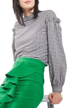 Topshop Topshop Gingham Mutton Sleeve Top available at #Nordstrom
