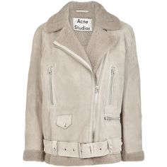Acne Studios More suede and shearling jacket ($2,440) ❤ liked on Polyvore featuring outerwear, jackets, coats, coats & jackets, suede, asymmetrical zipper jacket, suede leather jacket, acne studios, shearling jacket and pink jacket
