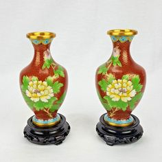 "Miniature 5"" Chinese Cloisonne Vase Pair with Wood Stands"