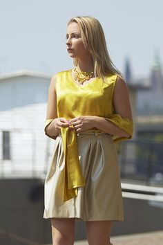 Katka model Jenny Jeshko Silk blouse, cotton necklace and eco-leather perfored skirt. All by #jennyjeshko.  Photo by #ErikFotografKoritko