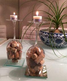 Luminária rápida com rolhas, taça e vela - DIY - Candle
