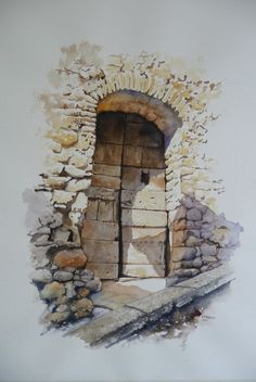 Walls/Cement work/bricks and even tombstones are something I'm really good at - so this painting by a VERY good artist really appeals to me. Watercolor Sketch, Watercolor Illustration, Watercolour Painting, Painting & Drawing, Watercolors, Watercolor Architecture, Watercolor Landscape, Watercolor Techniques, Painting Techniques