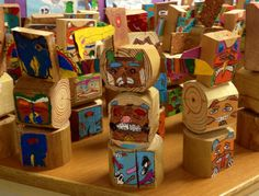 """After they read the """"Touching Spirit Bear"""" book each child designed his own totem pole. We used landscape timber poles, cardboard and acrylic paint. 7th Grade Social Studies, 8th Grade Ela, Middle School Literacy, Middle School Reading, Junior High English, Touching Spirit Bear, Native American Lessons, Bear Totem, School Art Projects"""