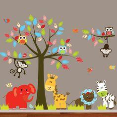 Jungle Nursery Vinyl Wall Decal Sticker Tree by nurserywalldecal